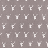 Gray Deer Head Cotton Fabric