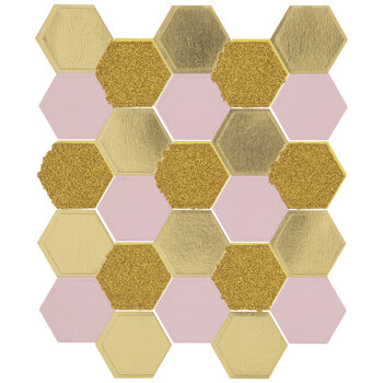 Pink & Gold Foil Honeycomb Stickers