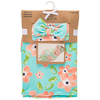 Floral Baby Swaddle & Headband