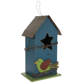 Blue Birdhouse With Bird & Star