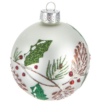 Holly & Pinecones Ball Ornament