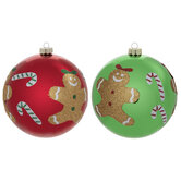 Candy Cane & Gingerbread Ball Ornaments