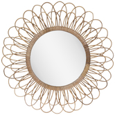 Rattan Flower Wall Mirror