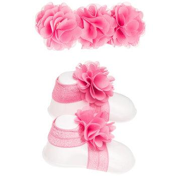 Pink Barefoot Sandals & Headband