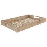 Woven Bottom Wood Tray