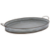 Gray Metal Tray With Ridges - Large