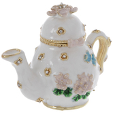 White Floral Tea Pot Jewelry Box