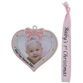 Pink Baby's First Christmas 2020 Frame Ornament