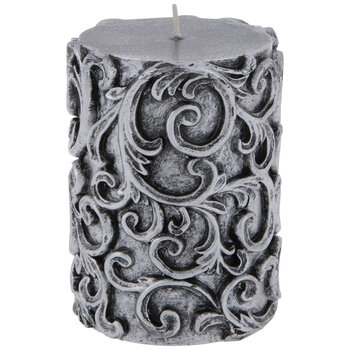 Antique Silver Embossed Swirl Pillar Candle