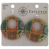 Multi-Color Tile Hoop Wood Pendants