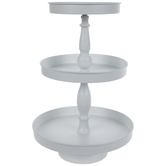 White Metal Three-Tiered Stand