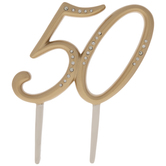 Gold 50th Anniversary Cake Topper