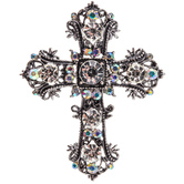 Cross Rhinestone Brooch
