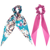 Solid & Floral Ribbon Scrunchies