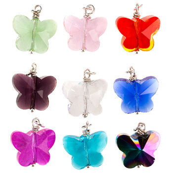 Rhinestone Butterfly Charms