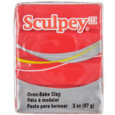 Red Hot Red Sculpey III Clay - 2 Ounce