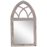 Whitewash Wood Wall Mirror With Arch