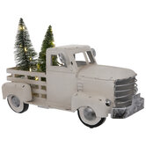 White Metal Truck With LED Trees