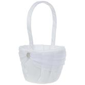 White Flower Basket With Rhinestone
