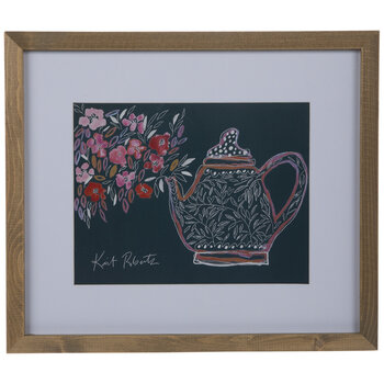 Floral Teapot Framed Wall Decor