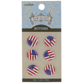 American Flag Buttons - 13mm