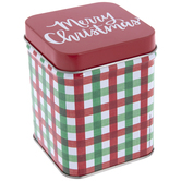Red & Green Plaid Metal Canister