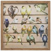 Birds Gathering Framed Wood Wall Decor