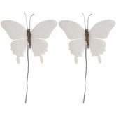 White Metallic Butterfly Picks