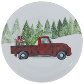Red Truck With Trees Plate