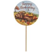 Happy Thanksgiving Truck & Pumpkins Cupcake Toppers