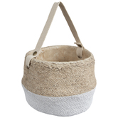 Two-Tone Basket Weave Cement Flower Pot With Handle