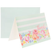 Floral & Watercolor Striped Thanks Cards