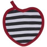 Black & White Striped Heart Pot Holder