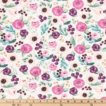 Painted Plum Floral Knit Fabric