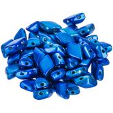 Metalust Crown Blue Gemduo Czech Glass Beads - 8mm x 5mm