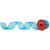 """Turquoise Glitter Striped Wired Edge Sheer Ribbon - 2 1/2"""""""