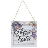 Happy Easter Shiplap Floral Ornament