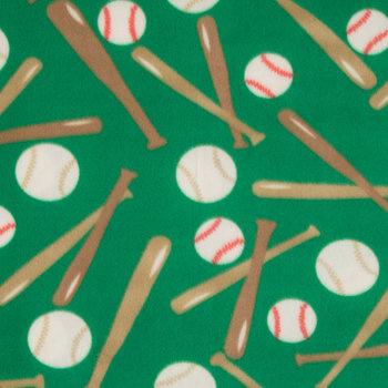 Green Baseballs Fleece Fabric