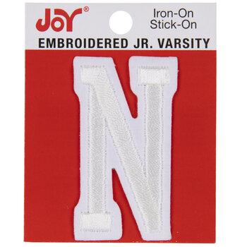 """White Junior Varsity Letter Iron-On Applique N - 2"""""""