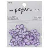 Purple Rhinestone Flower Embellishments