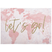 Let's Go Pink Map Canvas Wall Decor