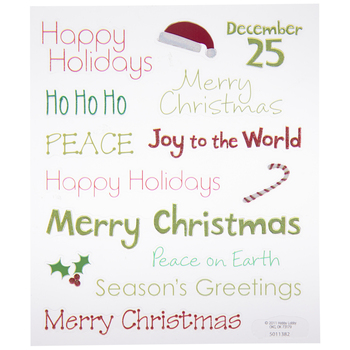Christmas Words Glitter Stickers