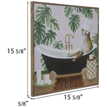 Cheetah In Bathtub Wood Wall Decor