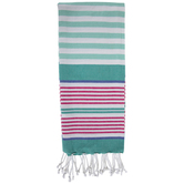 Teal, White & Pink Striped Kitchen Towel