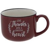 Give Thanks Burgundy Speckled Mug