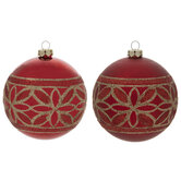 Red & Gold Floral Glitter Ball Ornaments