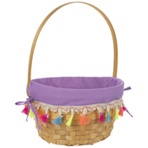 Purple Easter Bamboo Pom Pom Basket
