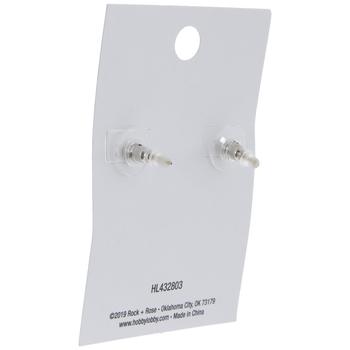 Sterling Silver Cubic Zirconia Moon Earrings