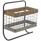 Rustic Metal Wall Basket With Rod