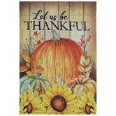 Let Us Be Thankful Pumpkins Garden Flag